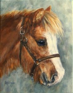 Little Red Pony Oil Painting Shetland Art Pet Portrait Horse Commission, painting by artist Debra Sisson