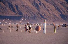 2005 BurningMan Giant Croquet game. http://www.curbly.com/users/modhomeecteacher/posts/8455-colossal-croquet-party