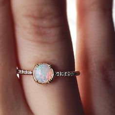 Opal and Diamond Engagement Ring with a Secret Diamond in a Minimalist Modern Recycled Gold Ring Inspired by Vintage Designs  *************************