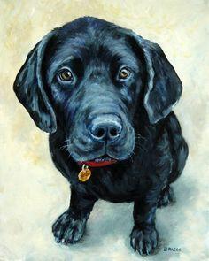 Labrador Retriever Dog Art 8x10 by Dottie Dracos Black Lab Puppy LU   LarkStudios - Print on ArtFire