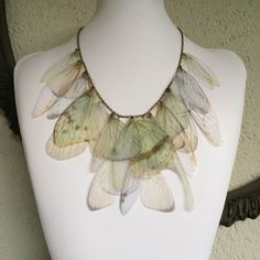 Wings - Ivory, Pale Blue and Pale Green Silk Organza Butterfly Cicada Moth Wings Necklace OOAK - Silver and Ivory Pearls by TheButterfliesShop on Etsy