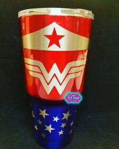 Wonder woman custom yeti tumbler bling out your yeti custom powder coating in the RGV like nothing youve seen in TEXAS!