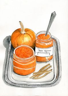 Food Illustrations: Dżem z dyni i pomarańczy
