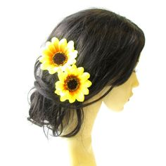 2 X Large Yellow Sunflower Flower Hair Pins Vintage Rockabilly Clip... ($6.83) ❤ liked on Polyvore featuring accessories, hair accessories, grey, hair pins, bridal flower hair pins, vintage bridal hair accessories, yellow hair accessories, rockabilly hair accessories and flower hair accessories