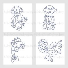 Bluework Swirly Sea Creatures Embroidery Designs Instant Download