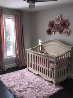 Blush dusty rose pink mauve g nursery. Cream crib in nursery. Flowers over crib. Baby Nursery Decor, Baby Bedroom, Baby Decor, Girls Bedroom, Rose Nursery, Babies Nursery, Flower Nursery, Girl Nursery Purple, Blush Nursery