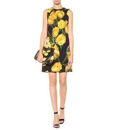 DOLCE & GABBANA Floral-printed wool-crêpe shift dress