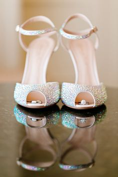 Cute wedding photo : Peep Toe Sparkle! Shoes by Gianvito Rossi -- See the wedding here: http://www.StyleMePretty.com/california-weddings/2014/05/21/elegant-blush-gold-wedding-at-the-fairmont/ Photography: U Me Us Studios - umeusstudios.com