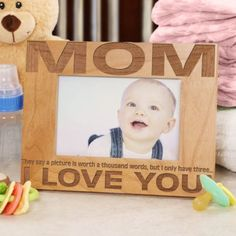 Personalized Mother's Day Wooden Picture Frame...Three Little Words - Gifts Happen Here - 1