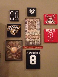 old baseball tshirts...displayed by earline