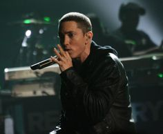 Eminem on stage during the 2010 BET Awards.
