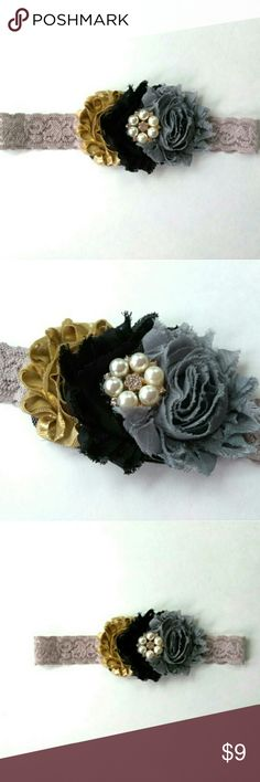 """SHABBY CHIC flower headband, handmade, 6m-2yrs Shabby Chic Flower headband  Three chiffon flowers attached to a taupe lace stretch elastic.  Flower colors: gold, black, gray Pearled rhinestone Taupe lace elastic Size: 16"""" (head size) Age: 6 months-2 yrs  All headbands are handmade with care in a smoke/pet free studio.  Enjoy!  Runway Closet Accessories Hair Accessories"""