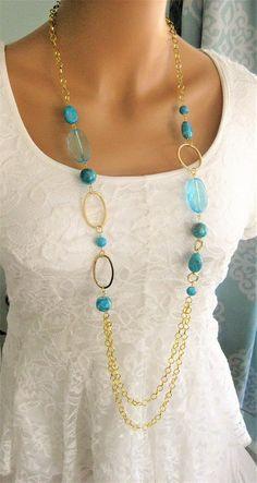Turquoise Blue Multi Strand Beaded Necklaces Multi Strand