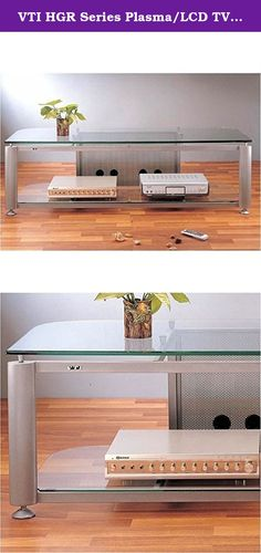 """VTI HGR Series Plasma/LCD TV Stand - Silver Pole / Clear Glass. This Plasma / LCD TV stand has an ultra-modern design that is ideal for any contemporary living space. It features a beveled, tempered glass top shelf, adjustable leveling feet and a dual wire management system. With simple, but sleek and elegant lines, it is sure to impress for many years to come. Features: Gorgeous looking TV/AV stand with beveled temper glass top shelf ; Perfect for up to 60"""" DLP, Plasma or LCD TVs…"""