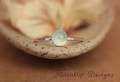 Delicate Aquamarine Engagement Ring - Bezel-Set Solitaire in Sterling - Aquamarine Promise Ring - Unique Engagement Ring - March Birthstone
