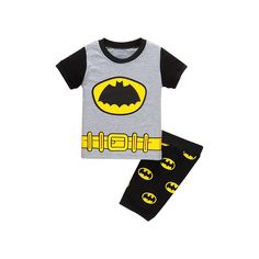 >> Click to Buy << Boys 2017 Summer Clothing set Cartoon Bat Man Pattern Grey Cotton Short Pants Two Pieces for age 2 3 4 5 6 7 Years old Children #Affiliate