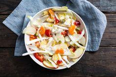 Koken met Aanbiedingen: witlofsalade met ananas, mandarijn, appel en rauwkost