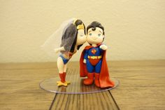 Wonder Woman and Superman Cake Topper. Wedding Cake Topper.   via  PlayCraft