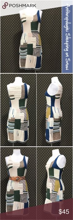 """Anthro """"Patchwork Variations Sweaterdress"""" by SoS By Sleeping on Snow. Excellent condition.  Pull on style. Single side front pocket.  Unlined.     ☘️Prices are firm and quite reasonable 🍀Smoke Free Home 🍀Bundles Welcome but please keep them under 10 items (5lbs) 🍀Kitty friendly household 🚫No Trades 🚫No Offers 🚫No PayPal or Off-Site Transactions Anthropologie Dresses"""