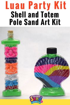 Totem pole and sea shell sand art is a great craft for boys or girls. This Sand Art Kit will make your summer luau party a HUGE success! This is a fun craft activity kit for parties, camps, resorts, & VBS