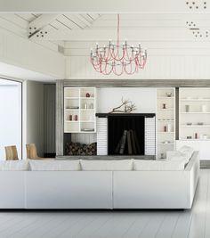 #Salon de style #moderne avec #chandelier. / #Modern #livingroom with #chandelier.