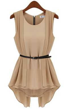 Khaki Sleeveless Back Zipper Asymmetrical Chiffon Blouse