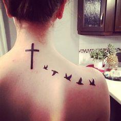 Girl Tattoo Ideas Birds Cross