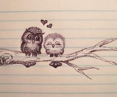 This owl drawing is too cute.