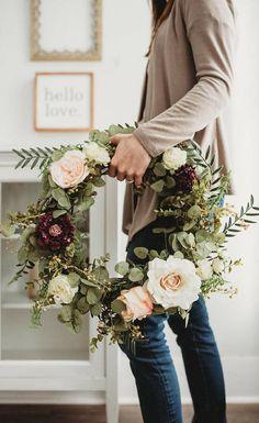 Rose Front Door Wreath- Spring Wreath - Summer Wreath - Greenery Wreath - Floral Wreath - Faux Wreath - Spring Decor - Country Wreath, home decor, porch decor, farmhouse decor, gift idea #ad