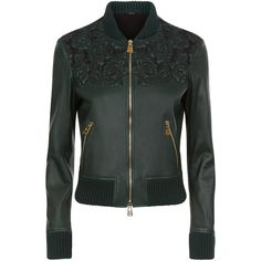 La Perla Leather Dark Green Lambskin Leather Bomber Jacket With... ($3,890) ❤ liked on Polyvore featuring outerwear, jackets, intimates, flight jacket, floral leather jacket, embroidered leather jacket, leather bomber jacket and zipper jacket