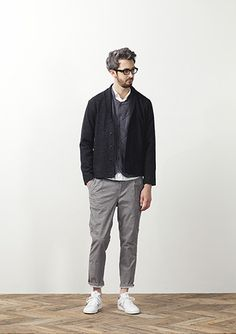 Black Knit Cotton Blazer, Grey Chinos, and White Leather Sneakers, by STILL BY HAND, Men's Spring Summer Fashion.