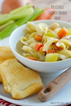 Rotisserie Chicken Noodle Soup: A great Fall soup that is easy to make because it uses premade chicken and can use canned stock. Your whole family will love it! - Eazy Peazy Mealz