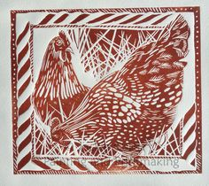 Pecking Order - Hens rustic linocut by Jackie Curtis.  Exact colour may vary as block is inked using two colours.  Can be produced in other colour combinations if required.