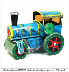 Road Roller 1927 Toy, Kovap, Czech Republic (picture 1 of 2). Tin Litho Tin Plate Toy. Wind-Up Mechanism.