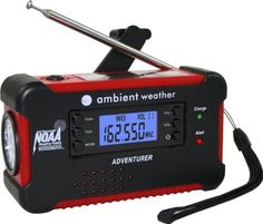 This has a radio and can be solar or hand-crank powered. Ambient Weather Emergency Solar Hand Crank AM/FM/NOAA Digital Radio, Flashlight, Cell Phone Charger with NOAA Certified Weather Alert & Cables Emergency Radio, Family Emergency, Emergency Preparedness, Hurricane Preparedness, Emergency Food, Tornado Preparedness, Emergency Kits, Emergency Management, Radios