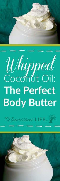 Insanely Easy Whipped Body Butter Recipe: 2 glass jars with whipped coconut oil body butter Whipped Coconut Oil, Coconut Oil Uses, Whipped Body Butter, Coconut Oil Moisturizer, Coconut Oil Lotion, Coconut Oil Beauty, Homemade Body Butter, Homemade Body Lotion, Homemade Soaps