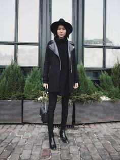 Hat-Tiger of Sweden/Pants-Bikbok/Boots-Zara/Knit-Hope/Coat-Zara/Bag-Givenchy