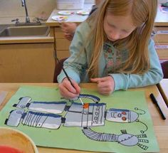 Robot Paintings: concentrating on detail, highlight and shadow. robot paint, art project, painting art, art lesson, shadow, acrylics, paint art, studio art, highlight