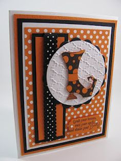 handmade Halloween card from Unique Ink ©: Bootiful Occasions . orange, black and orange . lots of layers and polka dots . Stampin' halloween cards ravioli yourself Fall Cards, Holiday Cards, Christmas Cards, Handmade Greetings, Greeting Cards Handmade, Handmade Halloween Cards, Handmade Crafts, Oyin Handmade, Handmade House