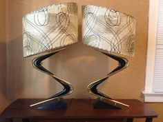 Super Awesome Pair of Vintage Majestic Z Lamps with Original Fiberglass Shades | eBay
