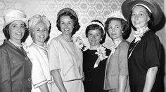 Annie Glenn, Rene Carpenter, Louise Shepard, Betty Grissom, Trudy Cooper and Marjorie Slayton attend a luncheon held in their honor by the American Newspaper Women's Club on April 27, 1962, in Washington, D.C.