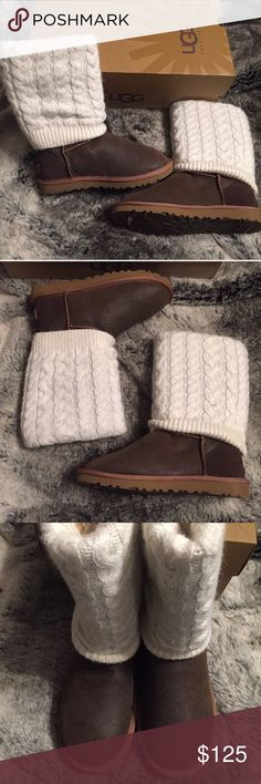 UGG - Fold Over knit Ugg Boots UGG - Fold Over knit Ugg Boots. New in Box. Dark brown UGG boots with white fold over knit. The knit is adjustable and can be worn down or moved up. UGG Shoes Winter & Rain Boots