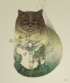 What's better than curling up with a good book and your cat!
