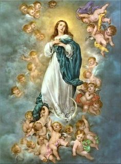 Blessed Virgin Mary with Angels. Does anyone else enjoy the fact that there are baby angels (cherubs) in Heaven?!