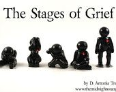 Five Stages of Grief - Shock, Anger, Rejection, Acceptance, Healing - clay human figurine sculpture set - therapy gift - made to order