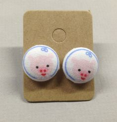 5/8 Size 24 Blue/Pink Piggy Pig Fabric Covered Button by RatDogInk