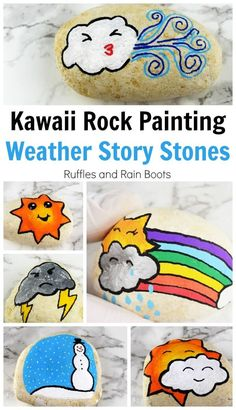 You can make these simple kawaii weather story stones to add to a painted rock collection, help children tell stories, or hide for others to find. Rock Painting Patterns, Rock Painting Ideas Easy, Rock Painting Designs, Painting For Kids, Diy Painting, Pebble Painting, Pebble Art, Stone Painting, Art Videos For Kids