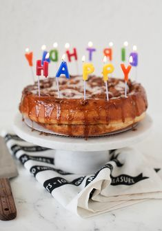cinnamon roll birthday cake