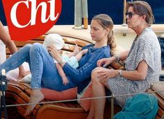 Princess Caroline and the youngest son Stefano of the family on Pacha Yacht