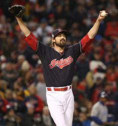 Cleveland Indians relief pitcher Andrew Miller  stretches out before his next pitchin the World Series game one between the Cleveland Indians and the Chicago Cubs played at Progressive Field on Tuesday, Oct. 25, 2016. Game One of the World Series goes to The Cleveland Indians 6-0  (Thomas Ondrey/The Plain Dealer)